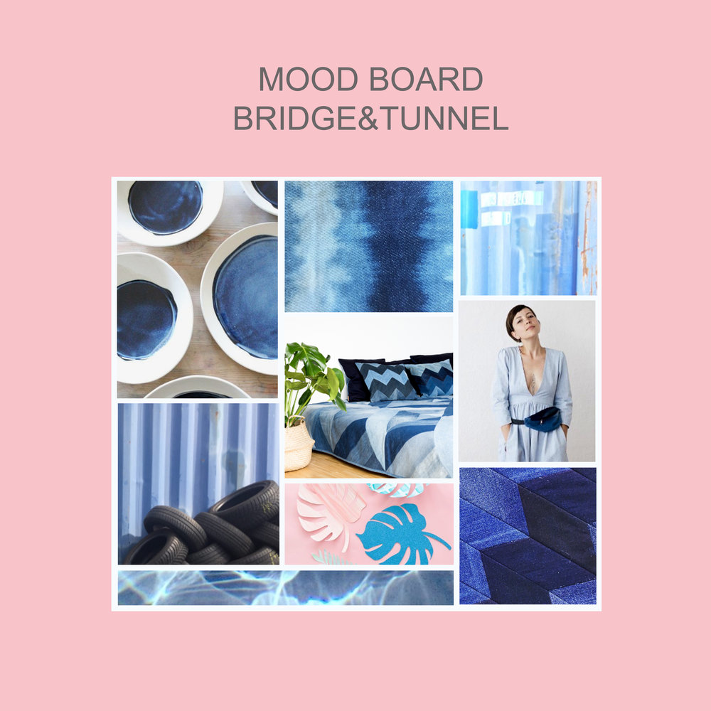 Die Welt von BRIDGE&TUNNEL: Fifty shades of blue  Collage: © www.bridgeandtunnel.de