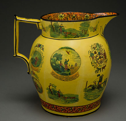 Fig. 1: English yellow-glazed earthenware jug, c. 1790. HD 2017.5.18, Gift of Doris and Stanley Tananbaum via Winterthur Musem. Photo by Penny Leverett.