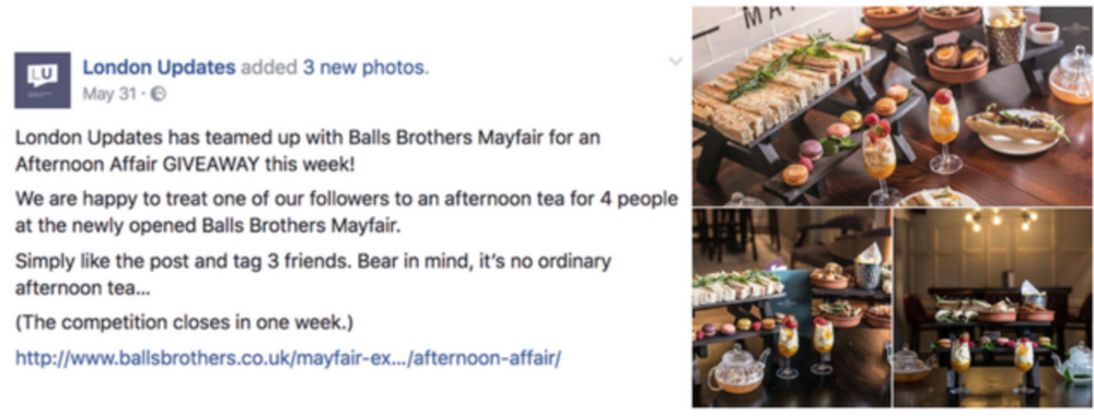 Balls Brothers - Facebook content editing for A london bar chain
