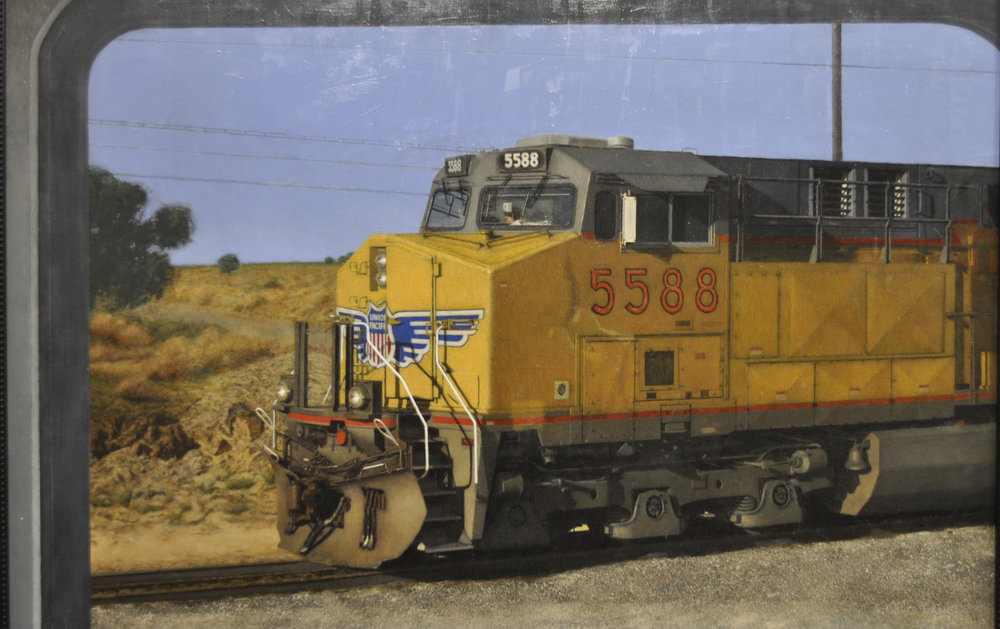 Yellow Train acrylic 20x30