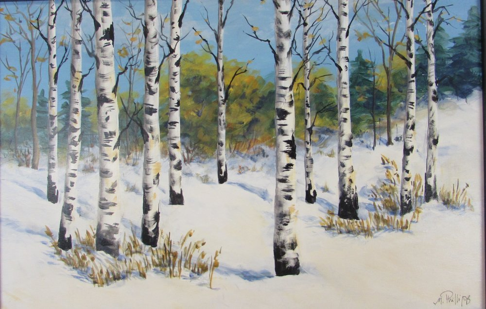 - 13 x 20 acrylic  Winter Birches
