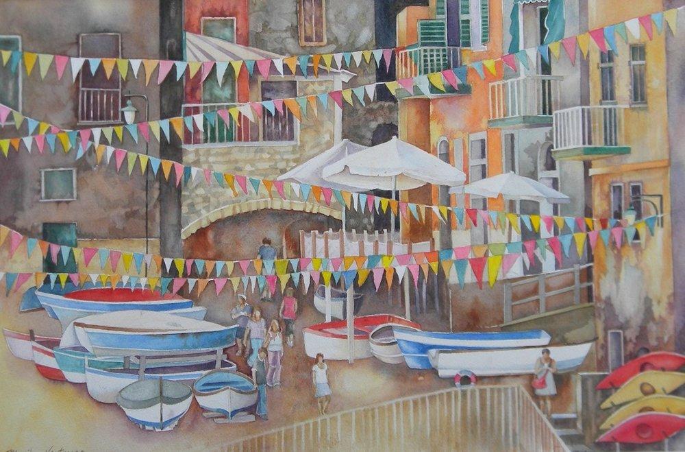 Cinque Terre Italy, watercolor
