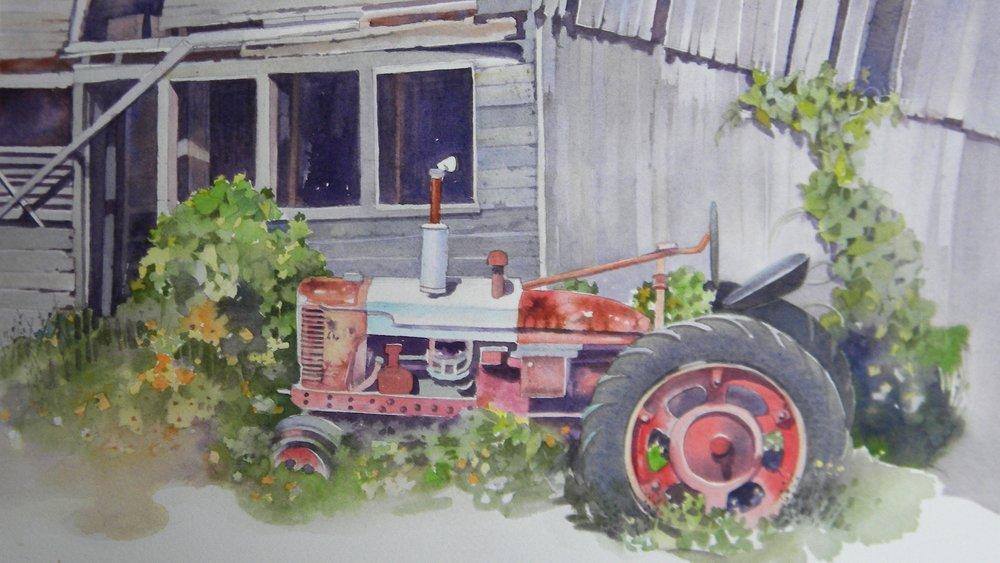 Tractor, watercolor
