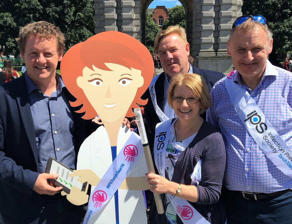 Left to right: Kerrill Thornhill  Medical EGuides , MEG, Michael Corr  SureWash,  Carole Hallam  Infection Prevention Society,  Gary Thirkill,  Infection Prevention Society