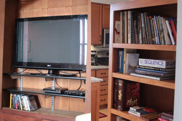 The bookshelf is stocked with fun reads (everything from New Ulm history to fiction) and games. The television is equipped with over 50 cable channels.