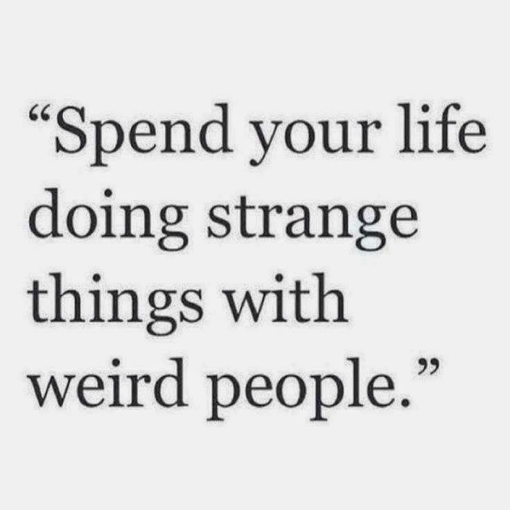 spend your life doing strange things with weird people