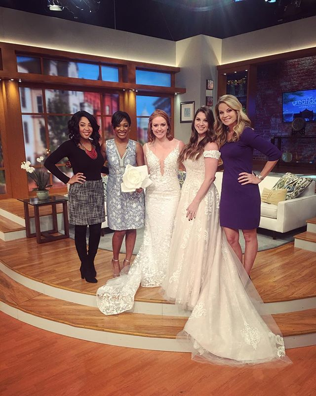 It's a great day, Washington!!! Katie and Brittany got the opportunity to join @caressedbydesign on @greatdaywash talking about the latest 2019 wedding trends! We got to feature a couple of our new favorite gowns Hazel and Adelaide 😍 We love working with such talented vendors daily! Thank you @wusa9 for having us this morning!! ❤️