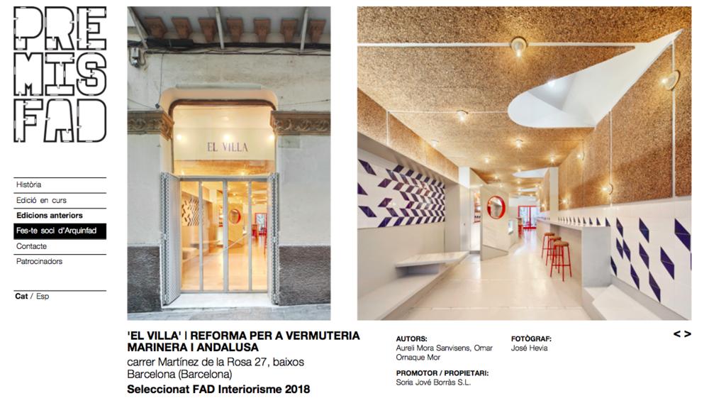 EL VILLA has been awarded by Premis FAD as a selected interiorism project 2018 -