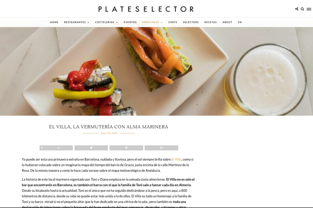 PLATE SELECTOR - EL VILLA VERMUTERIA DEL MAR FEATURED AT PLATE SELECTORCLICK ON THE IMAGE TO FIND OUT MORE!