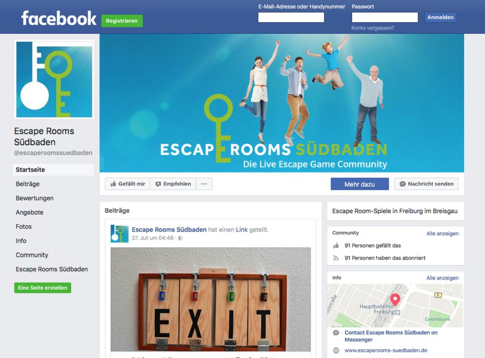 """Facebook Gewinnspiel - Zum Start unserer Community haben wir auch eine Facebook-Seite erstellt, auf der wir immer wieder über Aktionen, Gewinnspiele und Neuigkeiten informieren wollen. Unter allen, denen unsere Seite """"Escape Rooms Südbaden"""" bis zum 31.08.2017 gefällt, verlosen wir je ein Freispiel bei allen fünf Anbietern.Teilnahmebedingungen"""