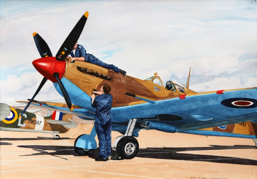 Gordon Phillipson.  Spitfire Pre-Flight,  Watercolor.22 x 30 in. $2,200.
