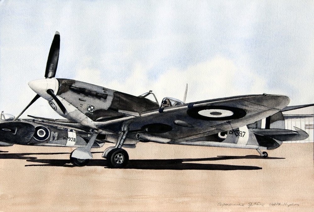Gordon Phillipson.  Supermarine Spitfire,  Watercolor. 13 x 19 in. $750.