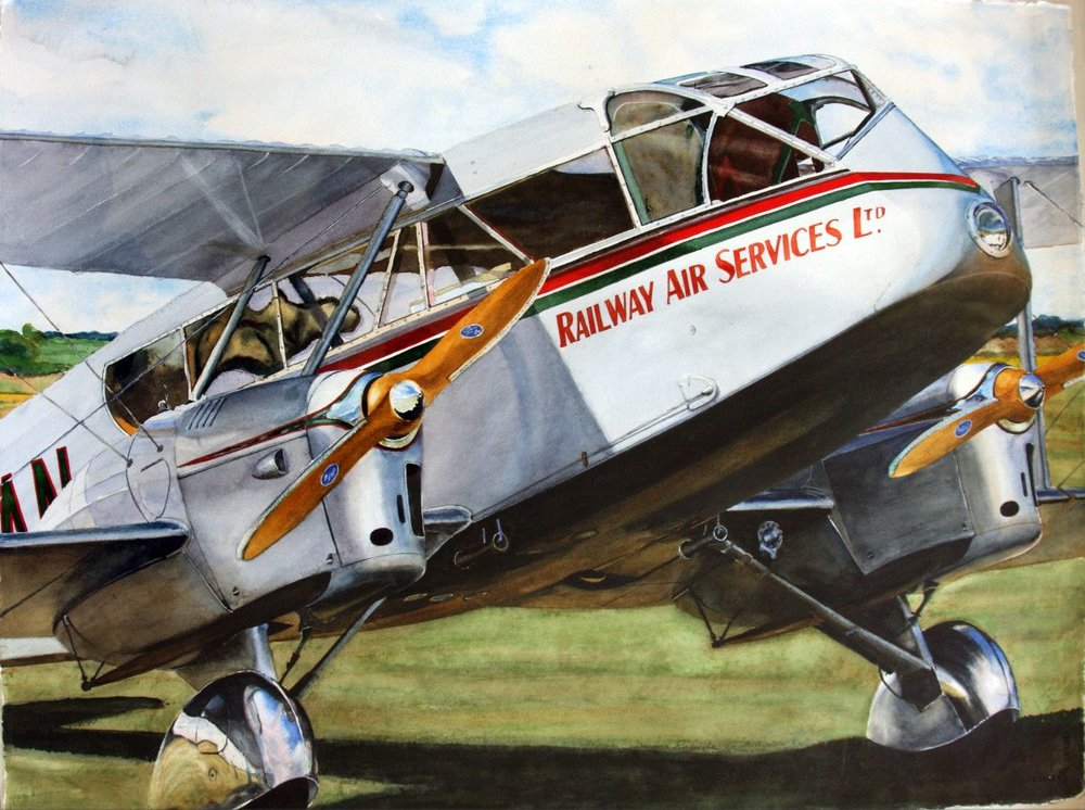 Gordon Phillipson. DeHavilland Rapide, Watercolor, 22 x 30 in. $2,200.