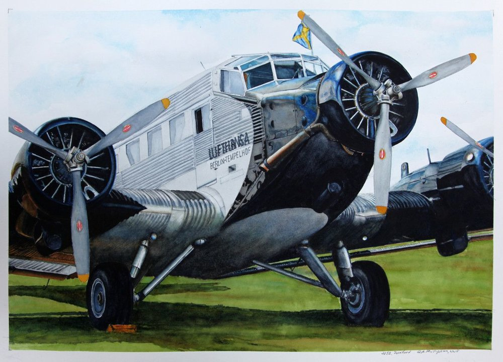 Gordon Phillipson.  JU53 Duxford , 2017. Watercolor, 22 x 30 in.  $2,200.