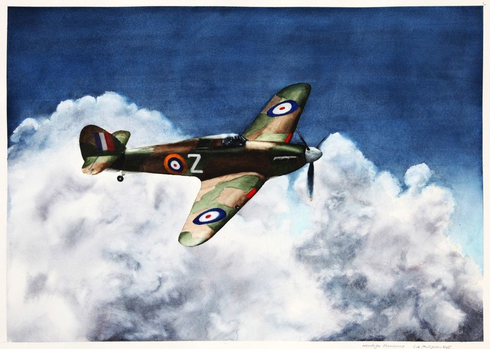 Gordon Phillipson. Heritage Hurricane, C., Watercolor, 22 x 30 in. $2,200.