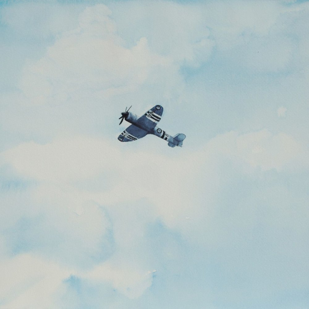 Gordon Phillipson.  Hawker Sea Fury, Blue,  Watercolor, 18 x 18 in.