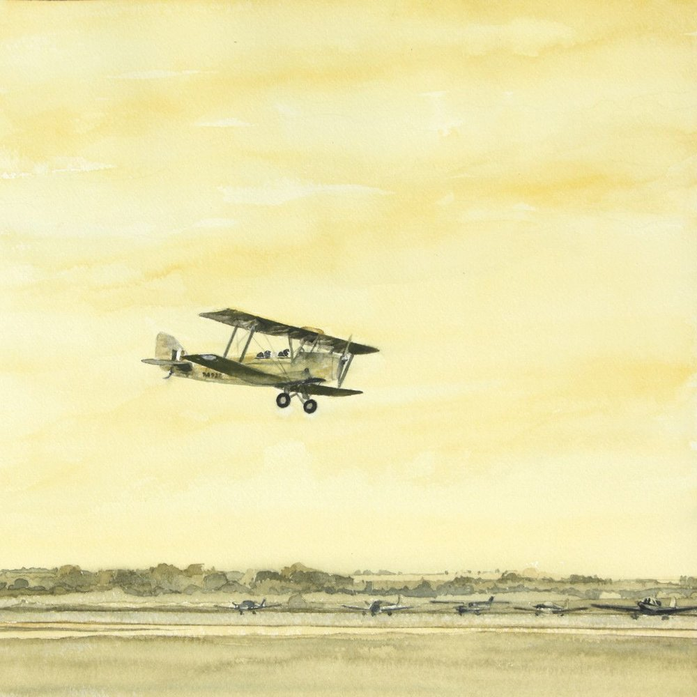 Gordon Phillipson.  DeHaviland Tiger Moth , 2013. Watercolor, 18 x 18 in.
