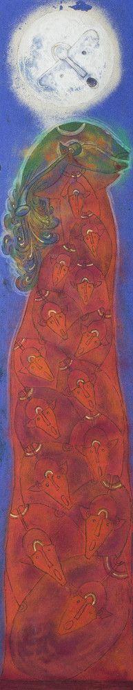 Rolando Rojas.  La Casita Roja , Oil and Marble Dust on Canvas, 78.75 x 15.75 in.