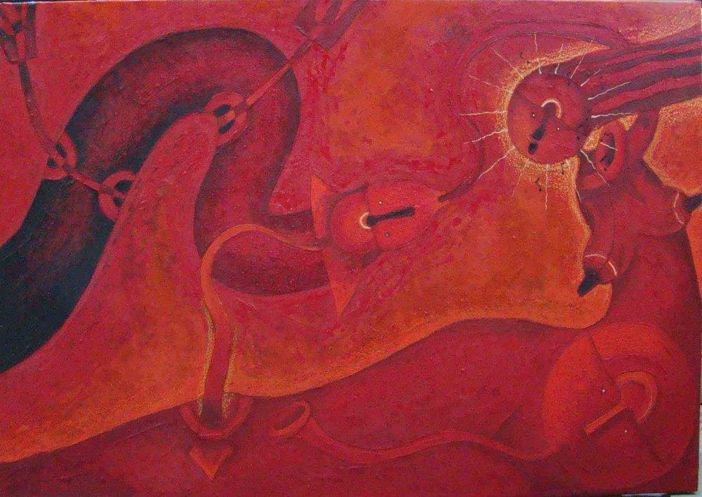 Rolando Rojas.  La Conquista , Marble Dust and Oil on Canvas, 40 x 50 in.