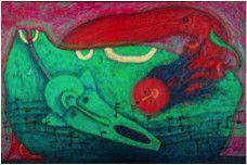 Rolando Rojas.  El Embrujo , Marble Dust and Oil on Canvas, 31.8 x 48 in.