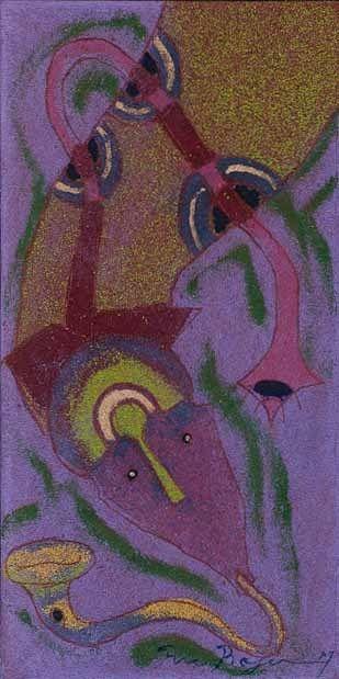Rolando Rojas.  5 de Junio , Marble Dust and Oil on Canvas, 15.7 x 7.8 in.