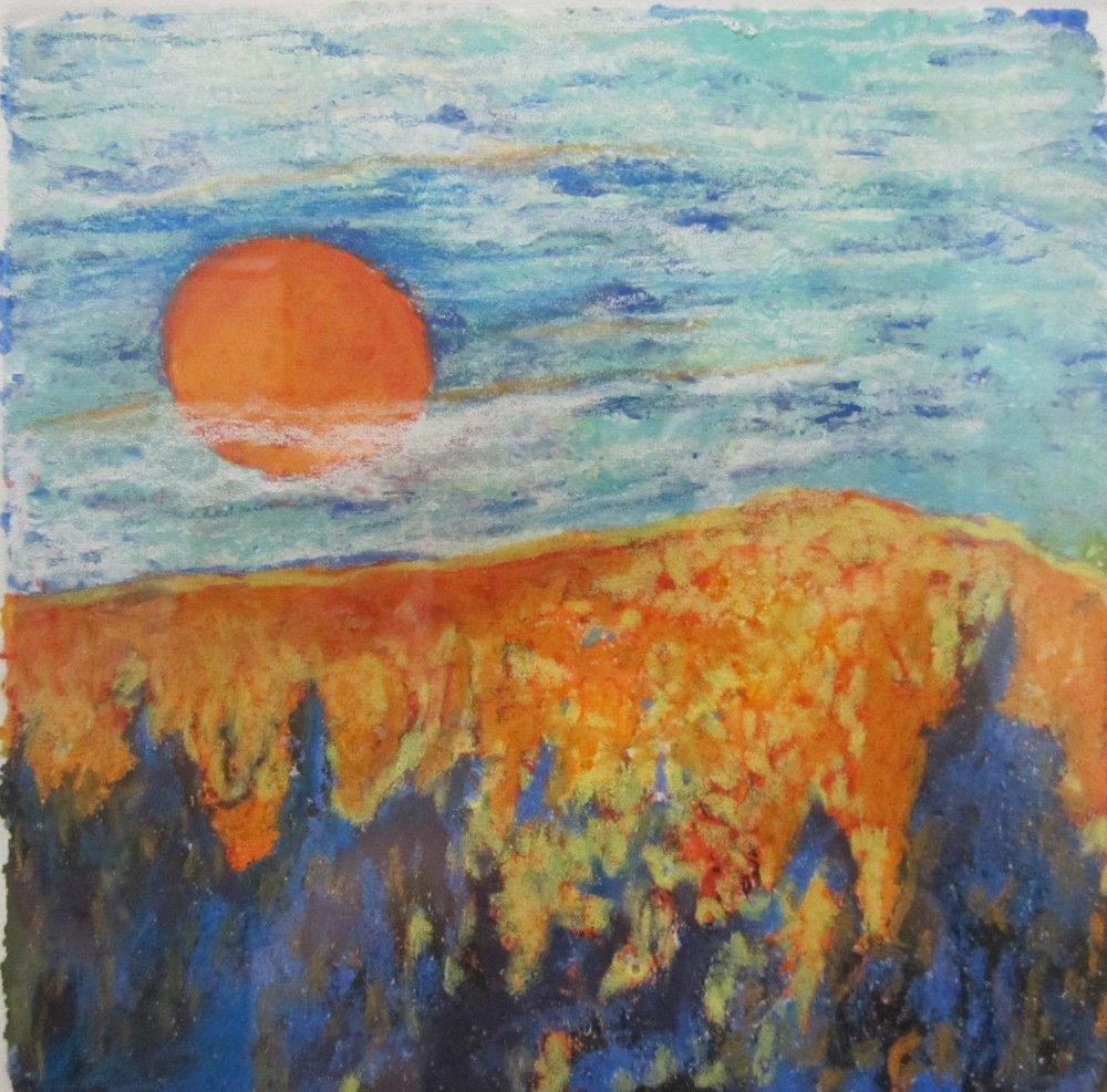 Maria Hughes.  Orange , Monotype. SOLD.
