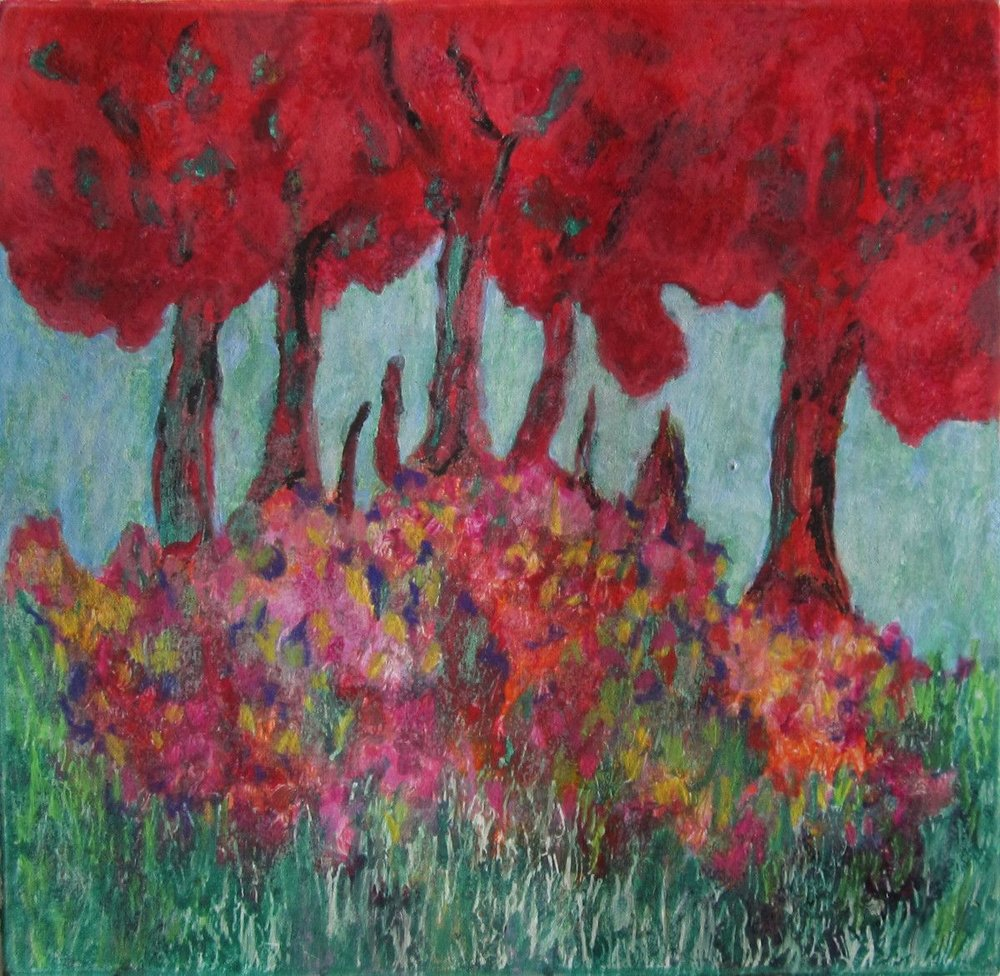 Maria Hughes,  Red Trees , Monotype.