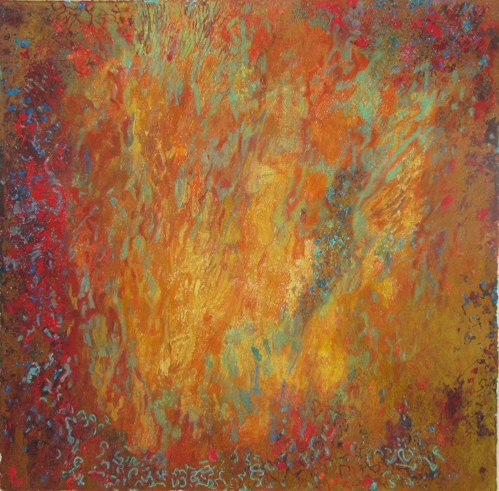 Maria Hughes,  Orange and Red Dreams , Monotype. 15 x 15 in