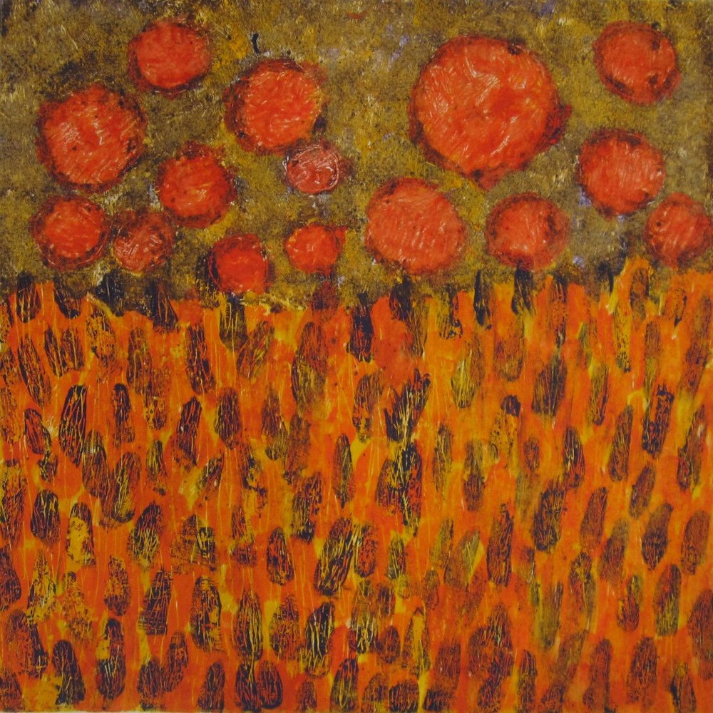 Maria Hughes,  Red Moons,  Monotype.