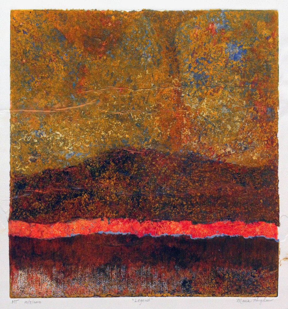 By Maria Hughes.  Legend , 2011. Monotype. 21 x 19.5 in.