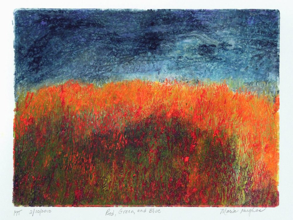 By Maria Hughes.  Red, Green and Blue , Monotype, 9 x 12 in.