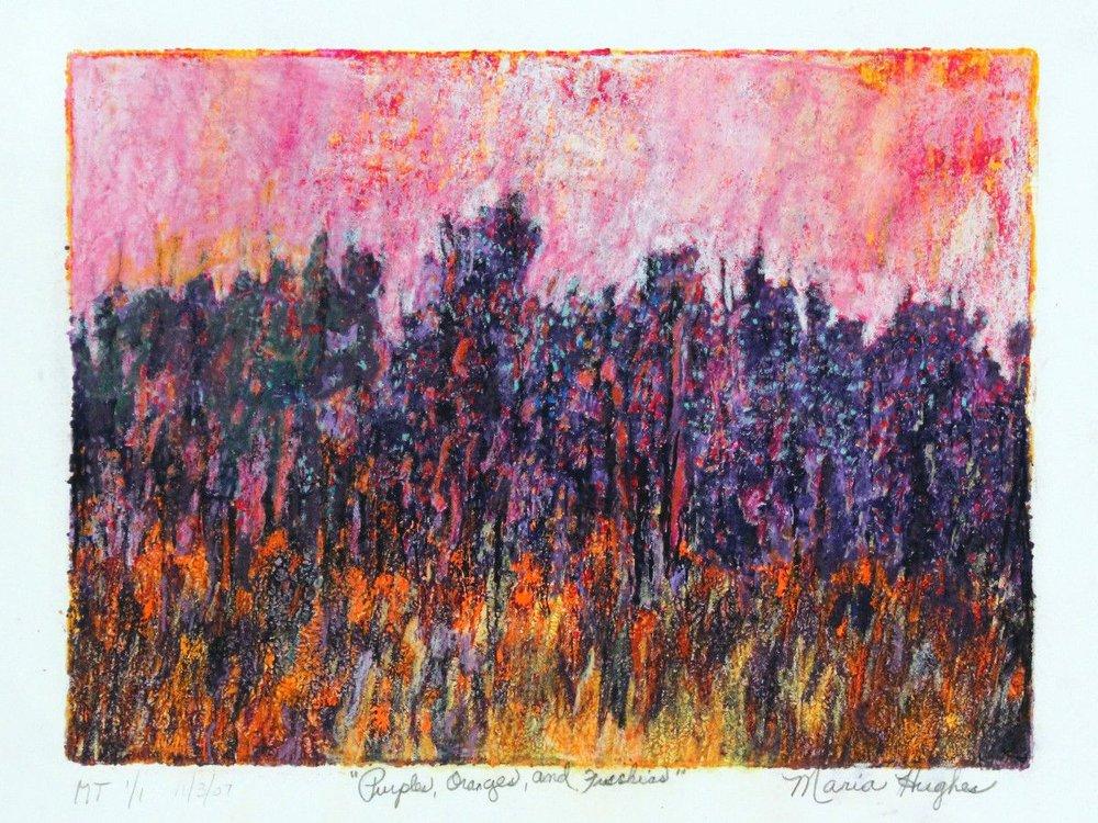 Maria Hughes,  Purple, Oranges and Fuschias  Monotype, 9 x 12 in.