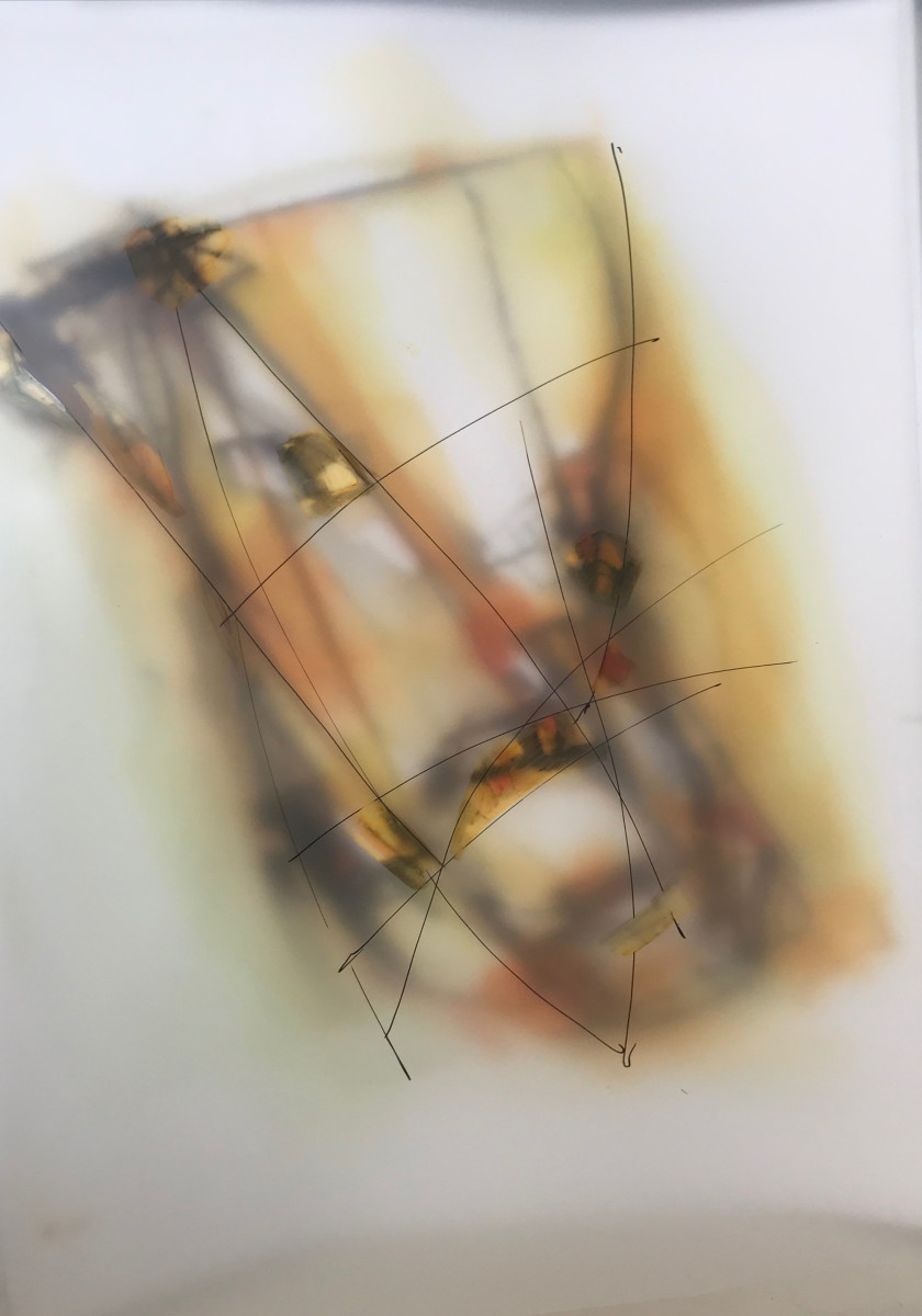 "Valentina Atkinson, ""Gold 101, Diaphanous Series, Watercolor/Overlapping Film. 20 x 14 in., SOLD"
