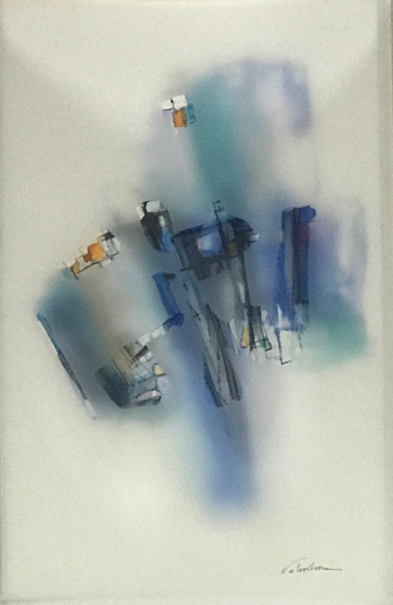 Valentina Atkinson.  Blue 103,  Diaphanous Series. Watercolor and overlapping film. 20 x 14 in. SOLD.