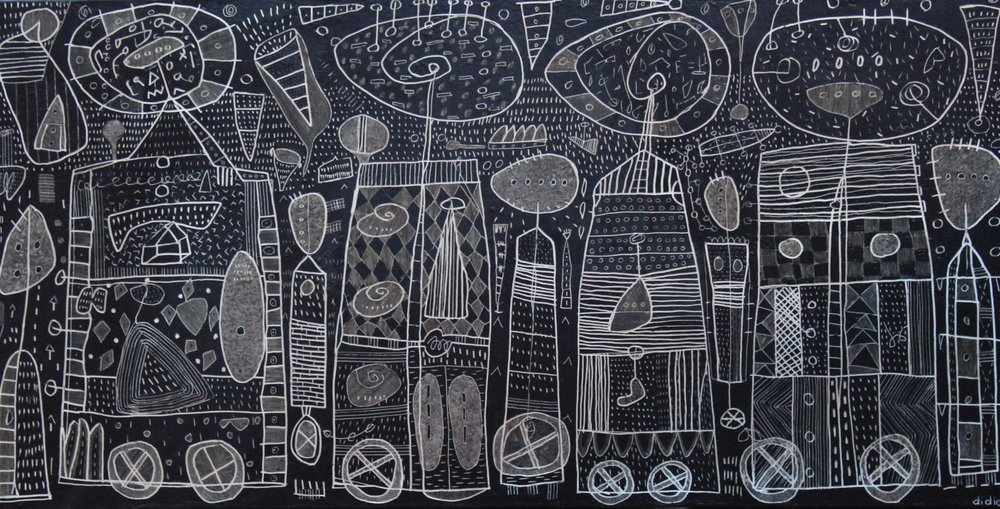 Didier Mayés,  En el salón de belleza , 100 cm x 200 cm.