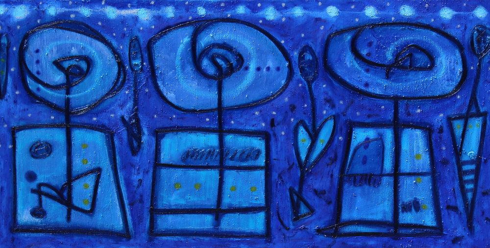 Didier Mayés,  Los tres de noche , 100 cm x 200 cm
