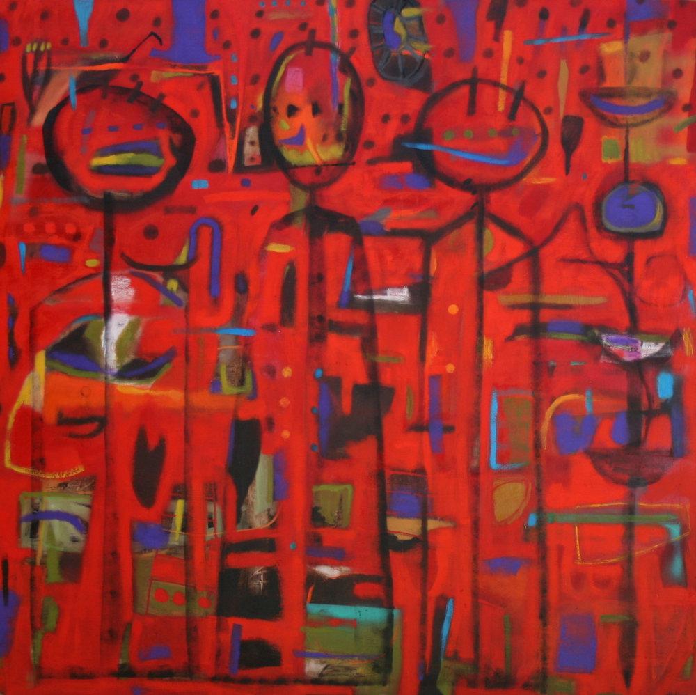 Didier Mayés,  Tres en la Fogata , 200 cm x 200 cm