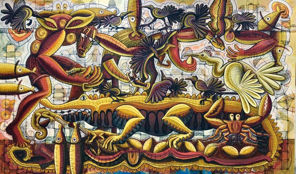 Ixrael Montes, Costa Exuberante, Mixed media on Linen, 2017, 300 cm x 500 cm.