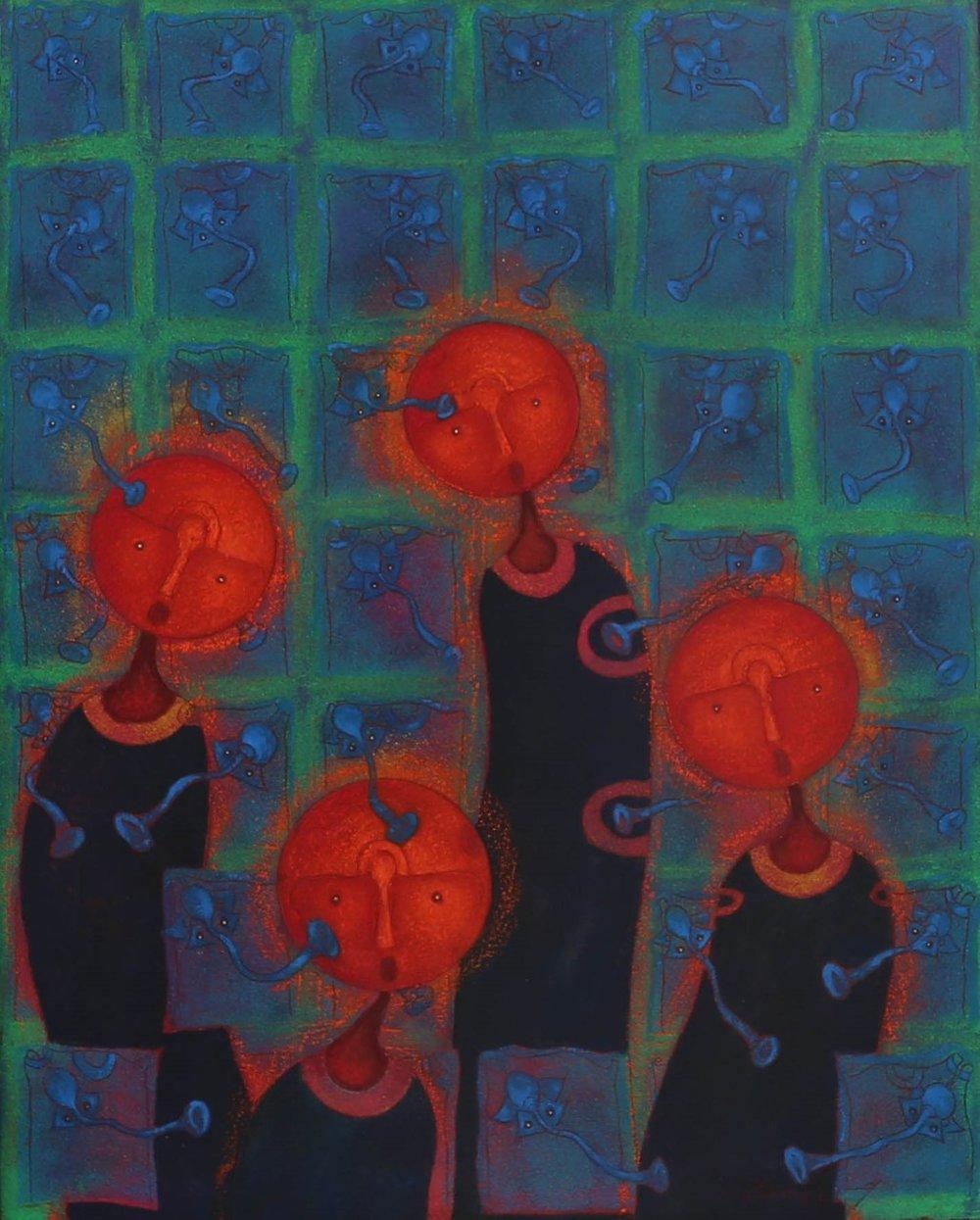 Rolando Rojas.  Encanto , 2018, Marble Dust and Oil on Canvas, 39.5 x 31.5 i