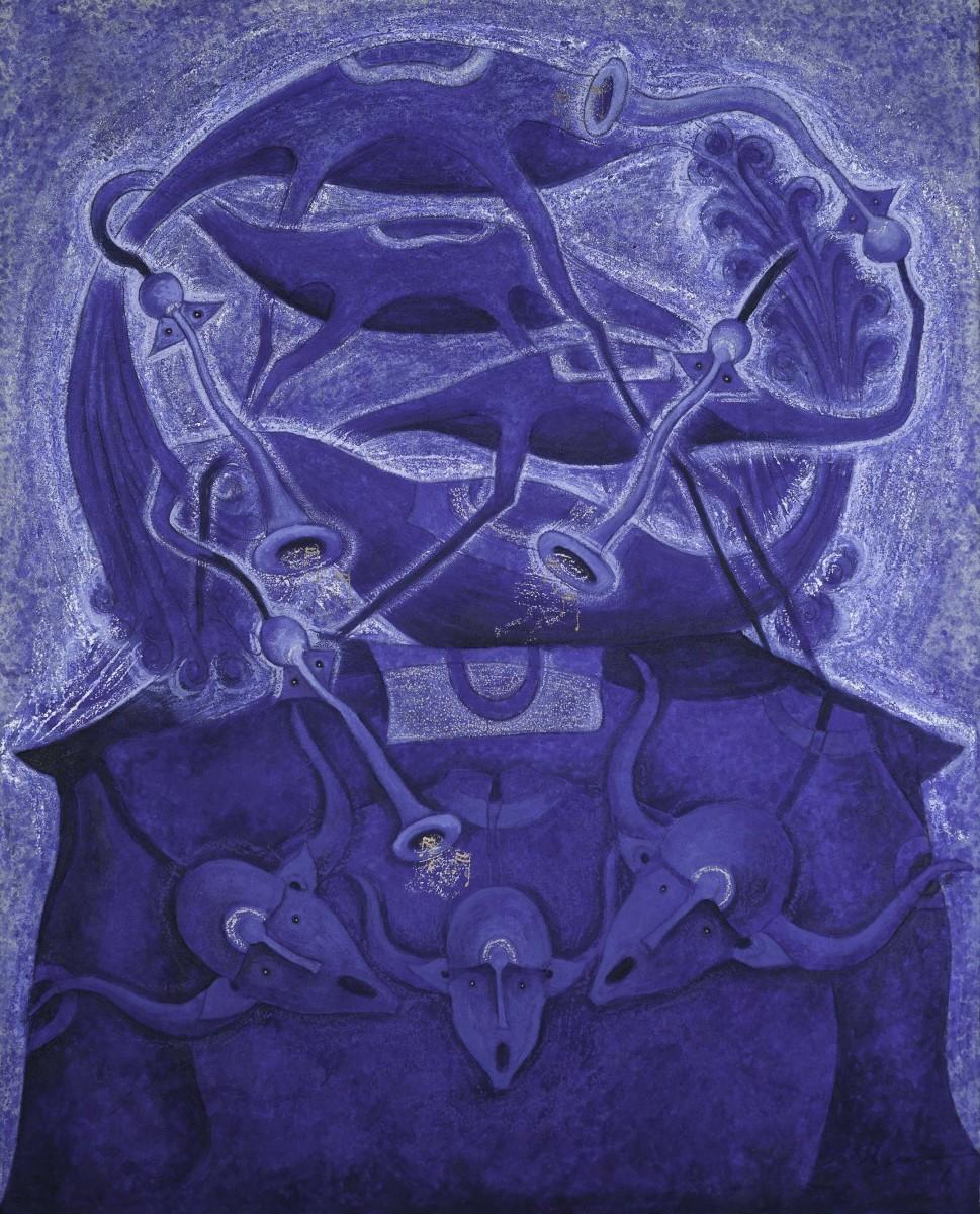 Rolando Rojas.  Serenata en Azul , Marble Dust and Oil on Canvas, 59 x 47.2 in.