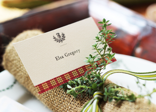 Plaid and Scottish Thistle set the Highland theme...Adelia Press place cards come blank or with fill-in line. This sample shows a place card printed with name, available upon special request.