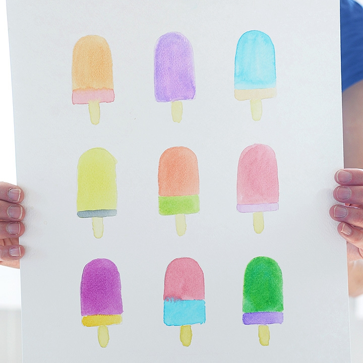 DIY Watercolor Popsicle Art