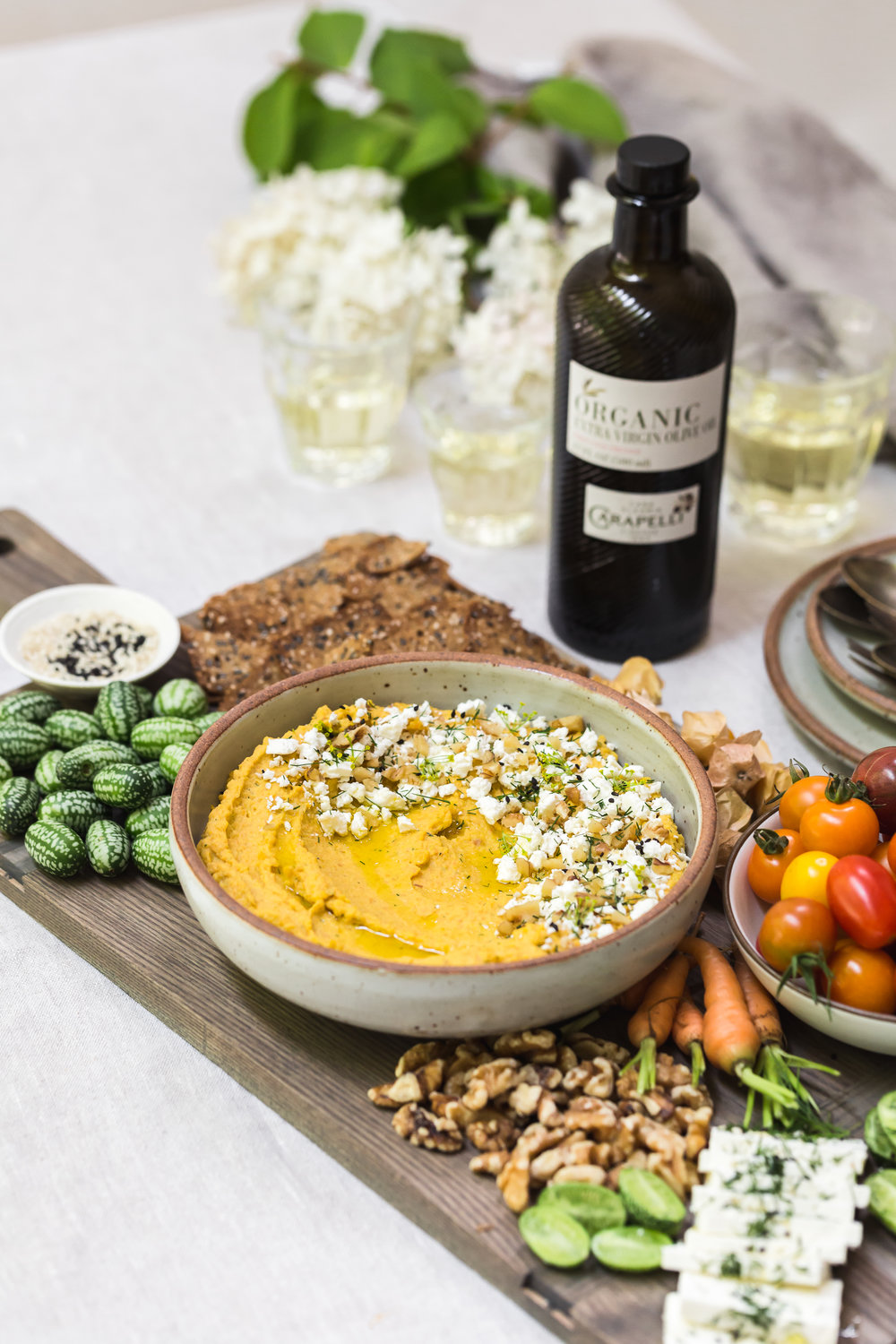 Roasted Carrot Hummus with Feta, Dill, and Walnuts