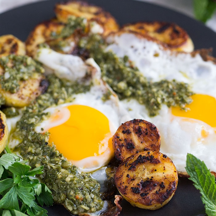 Fried Eggs, Plantains, & Chimichurri Sauce