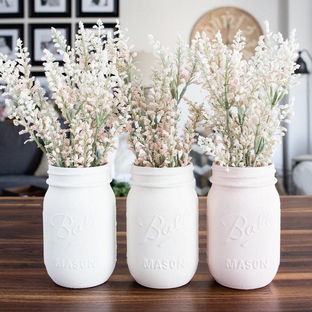 Pastel Mason Jar Vases