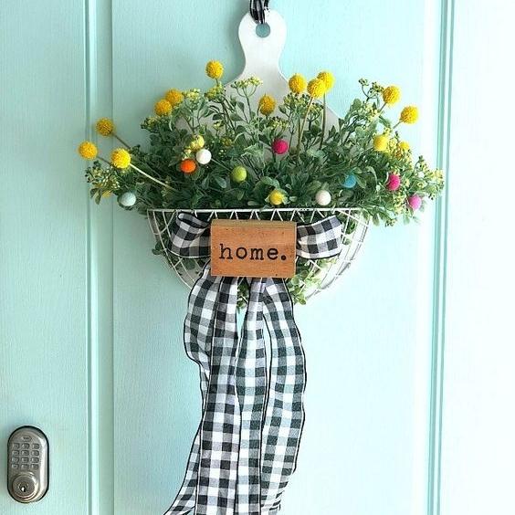 Floral Pom Pom Wreath