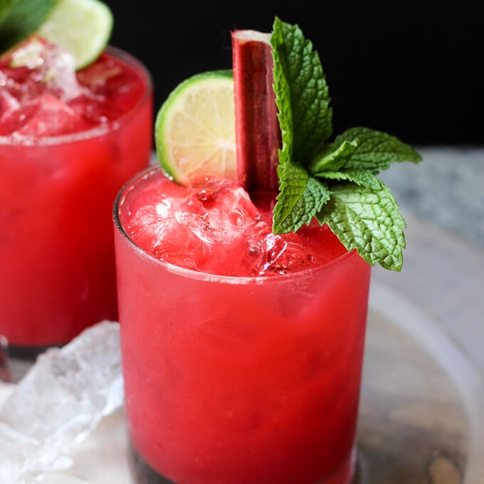 Raspberry Rhubarb Margaritas