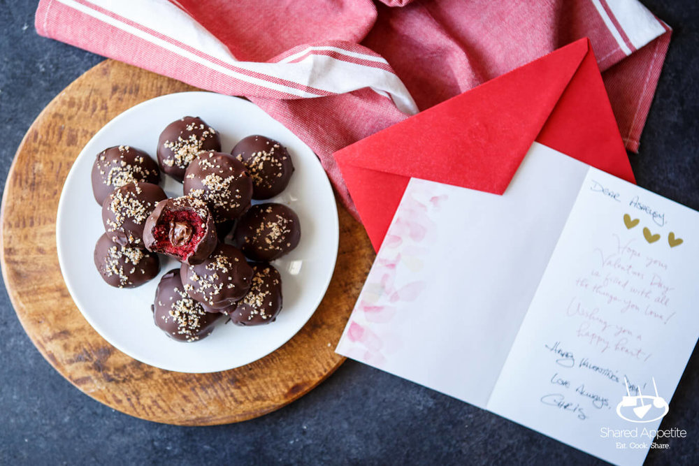 n partnership with American Greetings |  Nutella-Filled Red Velvet Truffles