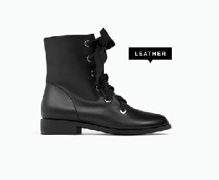 zara//leather lace-up boots