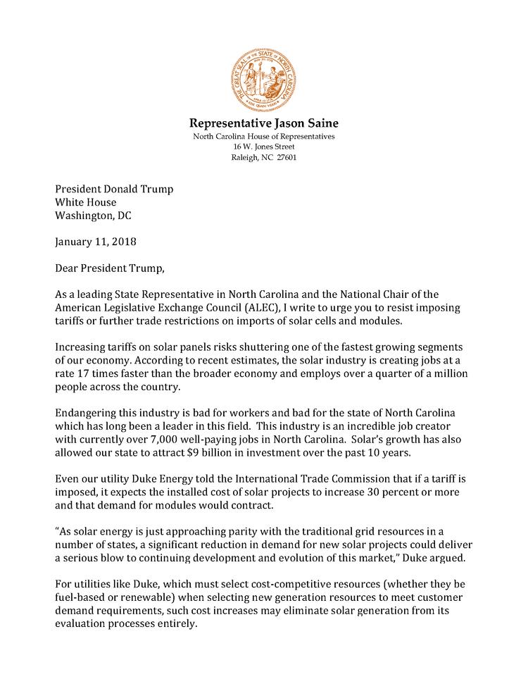 National chair of american legislative exchange council alec rep saine solar letter to potuspage1g altavistaventures Images